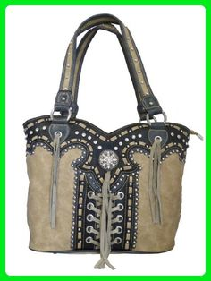 Montana West Concealed Gun Purse Laces and Tassels Design Tan - Top handle bags (*Amazon Partner-Link)