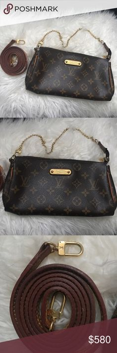 Louis Vuitton Eva Clutch EVA M95567 The short golden color shoulder chain of the Eva is perfect for evening use, while the wrist carry is another stylish option. The cross shoulder strap offers a more casual look. The perfect clutch for night or day. AUTHENTIC, what you see is what you get. :)!! Offers accepted. Louis Vuitton Bags Clutches & Wristlets