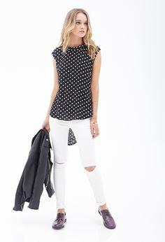 Drapey Polka Dot Blouse #SummerForever