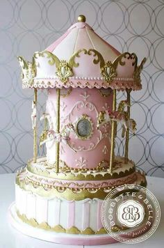 Carousel pink gold rococo cake - I so want to make this