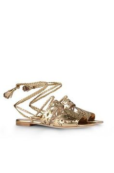 Alberta  Ferretti  Gold  Sandals.