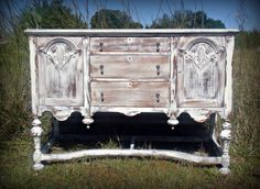 Antique Buffet/Sideboard--love the details but not the finish