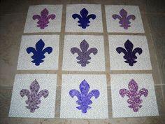 Set of 9  Purple Fleur De Lis Quilt Blocks   by MarsyesQuiltShop, $13.95