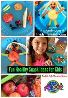 Fit Kids - Fun Food Art! Creative Snack Ideas for Kids! FitKids.FitMomTV.com   FitMomTV.com Fit Kids Exercises, Challenges, Videos, Recipes :)