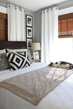 Valspar Granite Dust paint, grommet curtains over bamboo shades, window trim, white bed linens Window treatment for back room Bedroom Blinds, Home Bedroom, Bedroom Decor, Bedroom Ideas, Bedroom Furniture Placement, Bedroom Inspiration, Bedroom Designs, Bedroom Rugs, Bed Placement In Bedroom