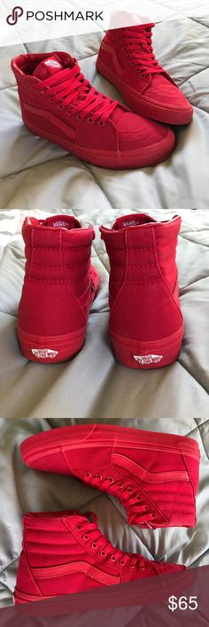 Unisex VANSShoes Gently worn 1 time, but still very clean!!! ❤️Men's 7, women's 8.5. All RED....... ❣️ Vans Shoes Sneakers