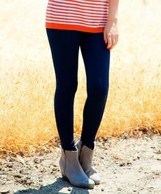 Another great find on #zulily! Navy Solid Fleece Leggings - Women & Plus by White Plum #zulilyfinds