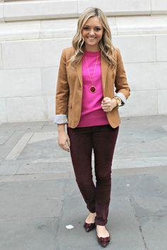 Hot pink, burgundy cords, blazer