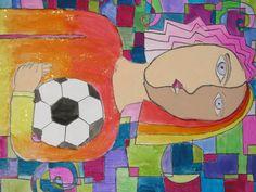 """4th grade Cubist style self portrait painting; 18""""x24""""; lesson designed by art teacher: Susan Joe"""