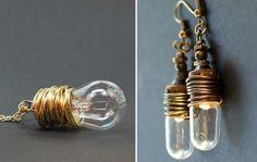 diy projekte alte glühbirnen bastelideen schmuck ohrringe