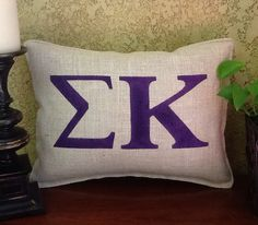 SIGMA KAPPA Stenciled Burlap Pillow by BurlapPillowsEtc on Etsy, $35.00