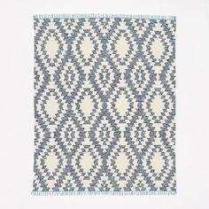 Palmette Chenille Wool Kilim Rug - Midnight | west elm