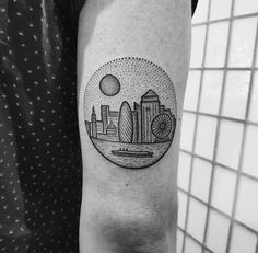 Dotwork London Cityscape Tattoo by Mike Stout