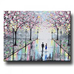 GICLEE PRINT Art Abstract Painting Couple Pink Cherry Trees Blossoms Romantic Canvas Prints Grey Wall Decor LARGE sizes to 60 -Christine