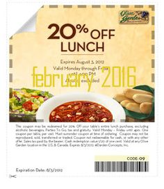 Olive Garden Coupons Ends of Coupon Promo Codes MAY 2020 ! Garden the of with known so experience website, italy. the they presentabl. Grocery Coupons, Online Coupons, Discount Coupons, Love Coupons, Print Coupons, Olive Garden Specials, Olive Garden Coupons, Coupons For Boyfriend, Free Printable Coupons