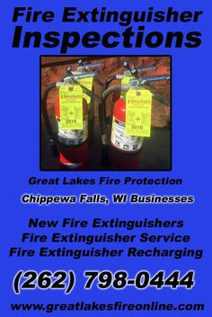 Fire Extinguisher Inspections Chippewa Falls, WI (262) 798-0444.. Local Wisconsin Businesses you have found the complete source for Fire Protection. Fire Extinguishers, Fire Extinguisher Service.. We're got you covered.. Great Lakes Fire Protection