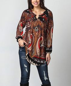Another great find on #zulily! Black & Red Paisley Notch Neck Tunic - Plus #zulilyfinds