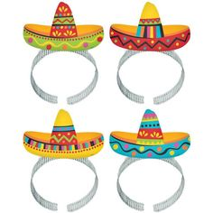 Get ready to your fiesta with this colorful mini sombrero foil headband. Sports a striped sombrero in one of 4 different designs. Includes 1 headband.