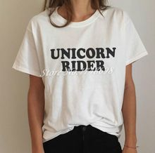 1bda695d73e Unicorn rider Letters Print Women T shirt Funny Cotton Casual Shirt For Lady  White Top Tee Hipster (Mainland))