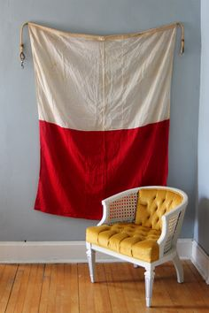 Vintage Nautical Red and White Flag