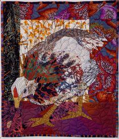 """Ruth McDowell's November Chicken  18"""" x 16"""" 46 x 40.5 cm ©2012 gulp: $1,200.00!  Machine Pieced, Machine Quilted, Cotton Fabrics, Cotton Batting"""