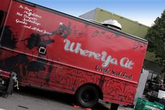 Food truck design is an extremely important part of food truck marketing. Use bright colors and bold graphics to attract attention to your truck! The Where Ya At food truck uses bright red colors to really stand out in the street.