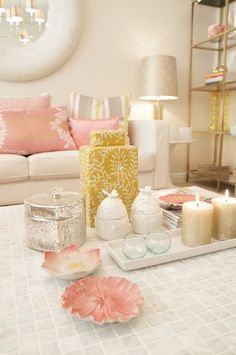 Rose Gold #COTM Blush and gold seating area would be perfect in a girly office
