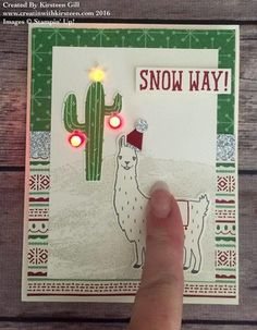 Kirsteen's light up card with video: Birthday Fiesta Bundle, Snow Place, Peaceful Pines, This Christmas dsp, Perfect Pines framelits - all from Stampin' Up!