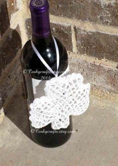 White Crochet Shamrock  Saint Patricks Day Irish by Corkycrafts
