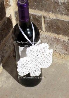 Irish Wine Gift Crochet Shamrock Wine Ornament St by Corkycrafts, $5.00