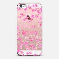Modern hello spring typography pink watercolor cherry blossom sakura hand painted  by Girly Trend - Classic Grip Case