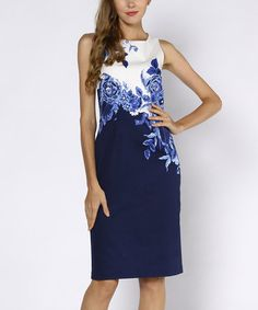 Another great find on #zulily! Blue & White Floral Sleeveless Sheath Dress #zulilyfinds