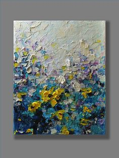 Acrylic flowers abstract painting done with palette knife on canvas. TITLE: Yellow daisy SIZE: 8 x 10 MEDIUM: Acrylic. Protected with a semi-gloss varnish. CANVAS: Stretched canvas with 0.75 thickness. The edges are painted, so a frame is optional. SIGNATURE: Signed on the front.