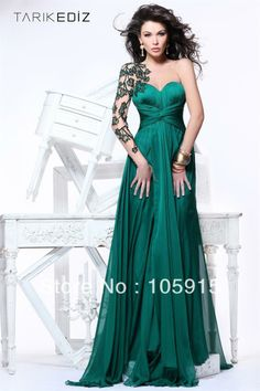 sleeve applique | 2013 Unique Dark Green Applique With One Long Sleeve Backless Evening ...