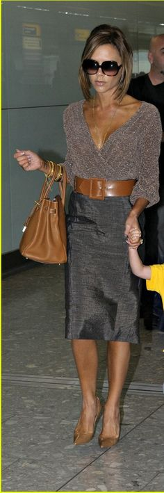Victoria Beckham ~ Love, love this look. Brown with gray looks better than I thought.