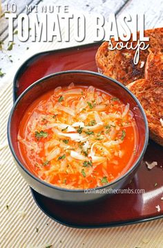 Tomato Basil Soup | Real Food, Nourishing Dinner for Under $5, this delicious repice takes only 10 minutes and will please even the pickiest of eaters