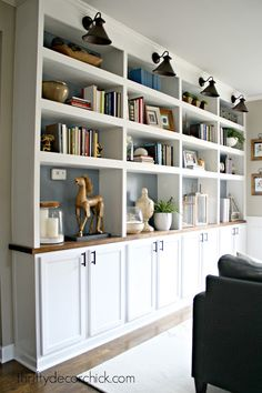 Built In Cabinets Living Room New the Office Diy Built Ins Have Started From Thrifty Decor Chick Library Shelves, Bookshelves Built In, Diy Bookcases, Bookshelf Design, Diy Built In Shelves, Bookcase Wall, Living Room Bookshelves, Floating Shelves, Ikea Built In