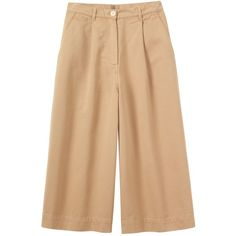 Toast Cotton Twill Culotte ($210) ❤ liked on Polyvore featuring pants, capris, sand, beige pants, cotton twill pants, wide-leg pants, wide leg trousers and zip pants