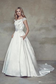 2015 Fall Collection Simple Wedding Gowns A Line Scoop Neckline Cap Sleeve Draped Beads Sequins Wedding Dress with Sashes And Pockets