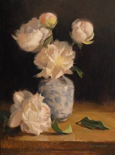Laurie Kersey Peonies and porcelain