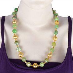 18K Gold Plated Onyx Ballas Beaded Necklace Fashion Handmade