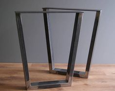 Heavy looking table or desk legs. Listing is for pair. You can choose needed size according to dropdown list.  Width is measured at top.  - Made from 8 x 4 cm (3.15 x 1.57 inches) steel square tubing - Wide top mounting plate 12 cm (4.72 inches) - Set includes wood screws for easy Tree Stump Table, Steel Table Legs, Desk Legs, Wood Screws, Woodworking, Base, Furniture, Home Decor, Top