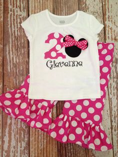 This outfit is sure to be a hit for your Disney themed party or Disney vacation! - Ruffle pants are made of cotton fabric with a stretchy elastic waist for a comfy fit. - Available in full length or capri length (measurements listed below). - Short sleeved or long sleeved shirts are available in sizes 2T, 3T, and 4T. - Short-sleeved or long-sleeved bodysuits are used for infant sizes up to size 24 mo (Carters). - All applique work is top stitched for quality. - Top is personalized using heat…