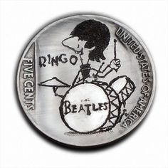 Ringo Starr The Beatles #401 Hand Engraved  Hobo Nickel  by Luis A Ortiz