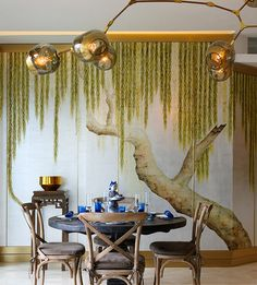 de Gournay, Japanese & Korean Collection, 'Willow' design in Original design colours on Sterling Silver gilded tea paper.