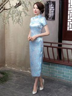Kaftan, Cheongsam Modern, Asian Style Dress, Chinese Clothing, Chinese Dresses, Oriental Dress, Long Sleeve Short Dress, Cheongsam Dress, Collar Dress