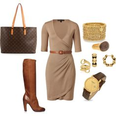 Jewelry is a bit much for me but love the wrap dress, boots & bag