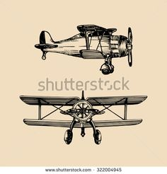 Vintage Airplane Sketch Stock Vectors & Vector Clip Art | Shutterstock