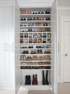 Shoe storage White Painted Maple Dressing Room, Westchester County, NY - traditional - closet - new york - transFORM Closet Bedroom, Master Closet, Ikea Closet, Bedroom Shelves, Closet Doors, Shoe Cupboard, Closet Storage, Shoe Storage With Doors, Shoe Storage Laundry Room