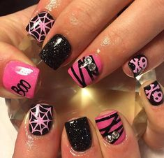 Halloween Acrylic Nails, Cute Halloween Nails, Halloween Nail Designs, Spooky Halloween, Acrylic Nail Designs, Nail Art Designs, Nails Design, Cute Nails, Pretty Nails